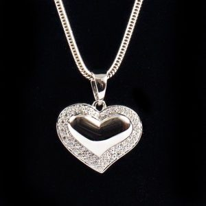 Heart Pendant with Diamente Detailing