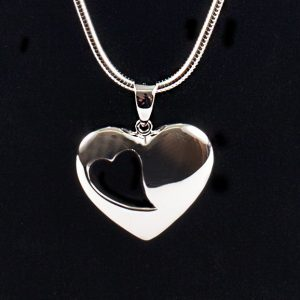 Heart Pendant with Heart Cut-Out