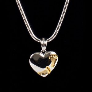 Heart with Gold Footprints Pendant