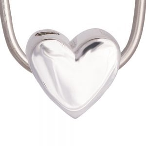 Polished Heart Silver Bead