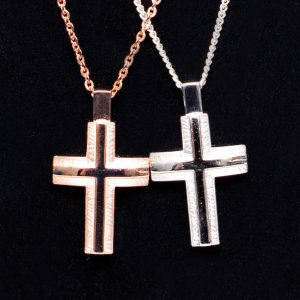 Rose Gold / Silver Cross Pendant