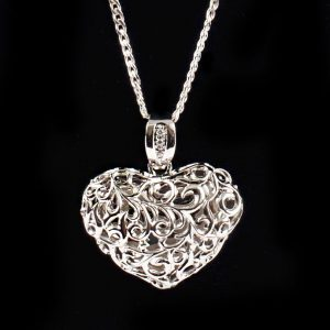 Scrolled Cherished Heart Pendant