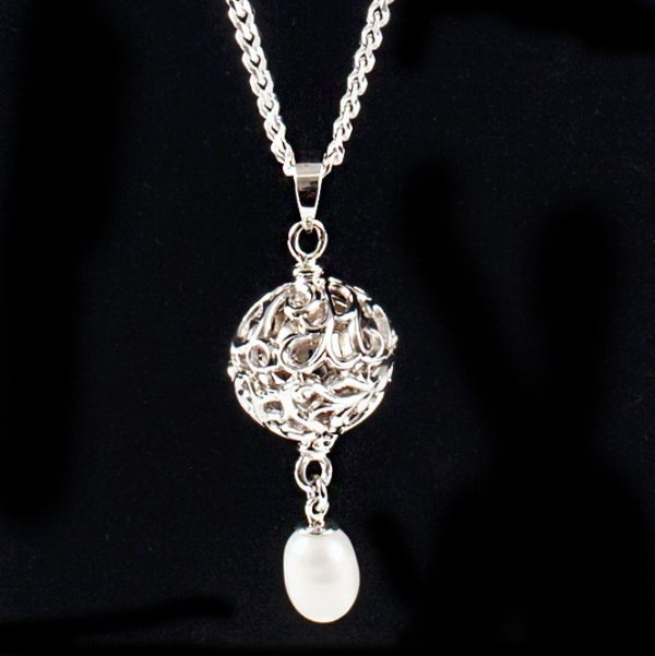 Scrolled Globe & Pearl Pendant