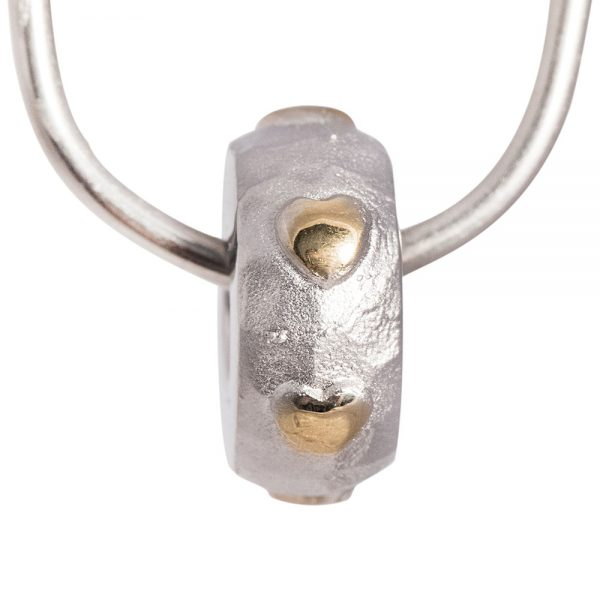 Silver with Gold Hearts Memorial Bead
