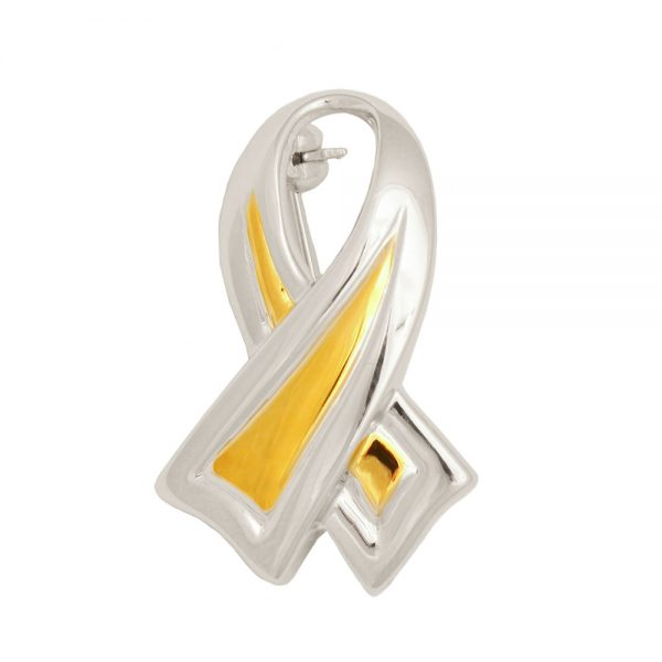 Petite Gold & Silver Awareness Brooch