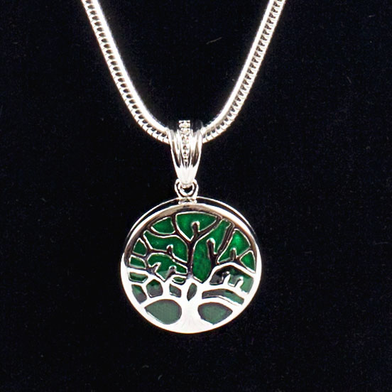 Tree of Life Pendant with Green Detail